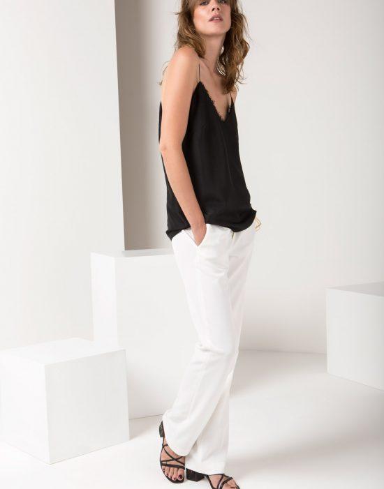 Look 2 - Top in seta | Pantaloni in crêpe